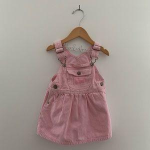 VTG OSHKOSH B'GOSH pink stripe overall dress EUC